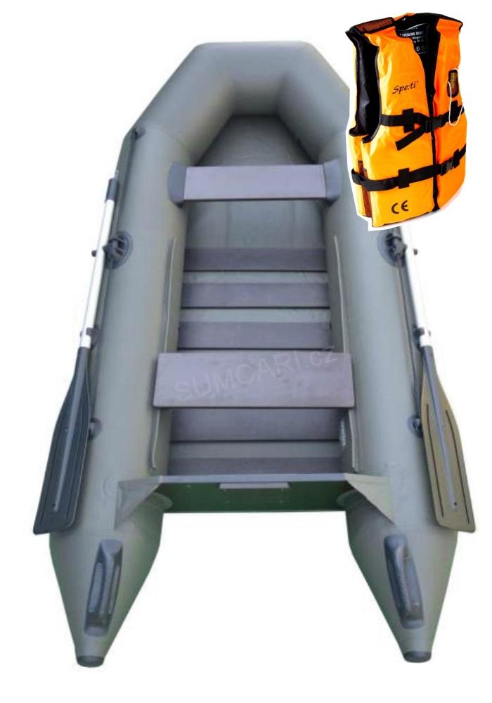 SPORTEX nafukovací člun SHELF 250 zelený, lamelová podlaha