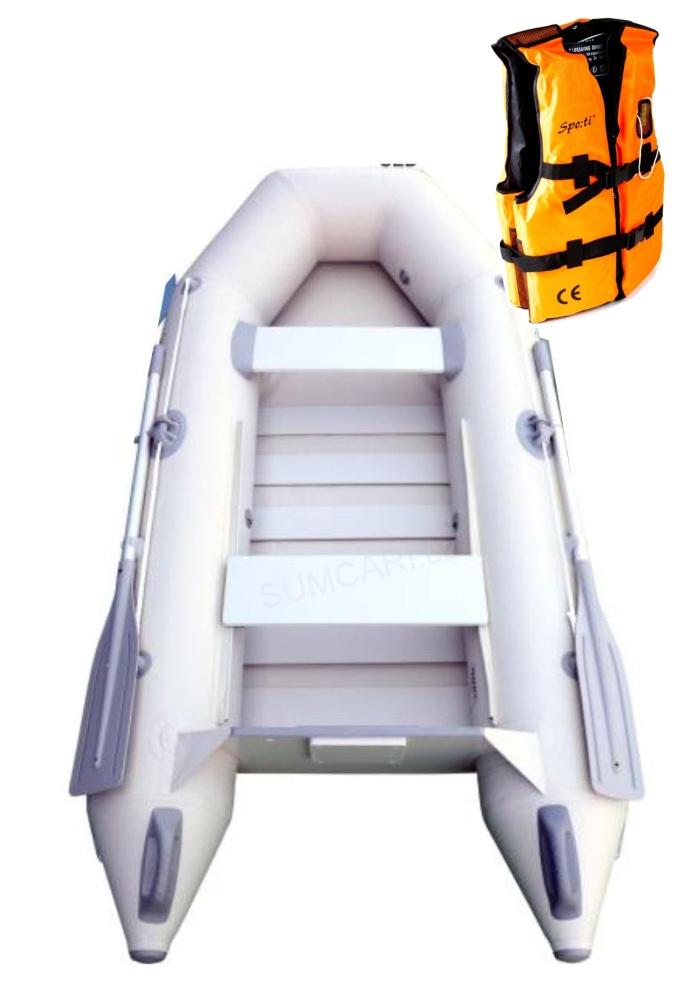 SPORTEX nafukovací člun SHELF 250 šedý, lamelová podlaha