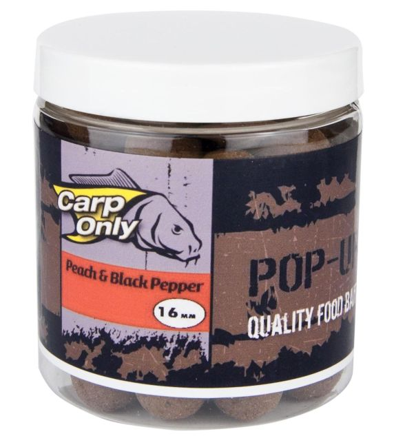 Carp Only plovoucí boilies PEACH BLACK PEPPER POP UP 12mm 100g
