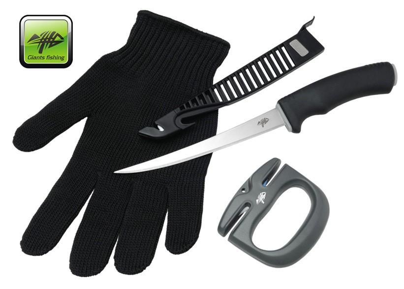 Giants Fishing sada nůž, rukavice a brousek Combo Filet